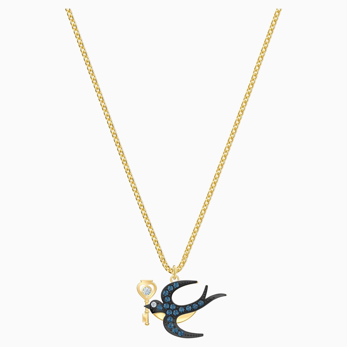 Collier Tarot Magic, bleu, Métal doré