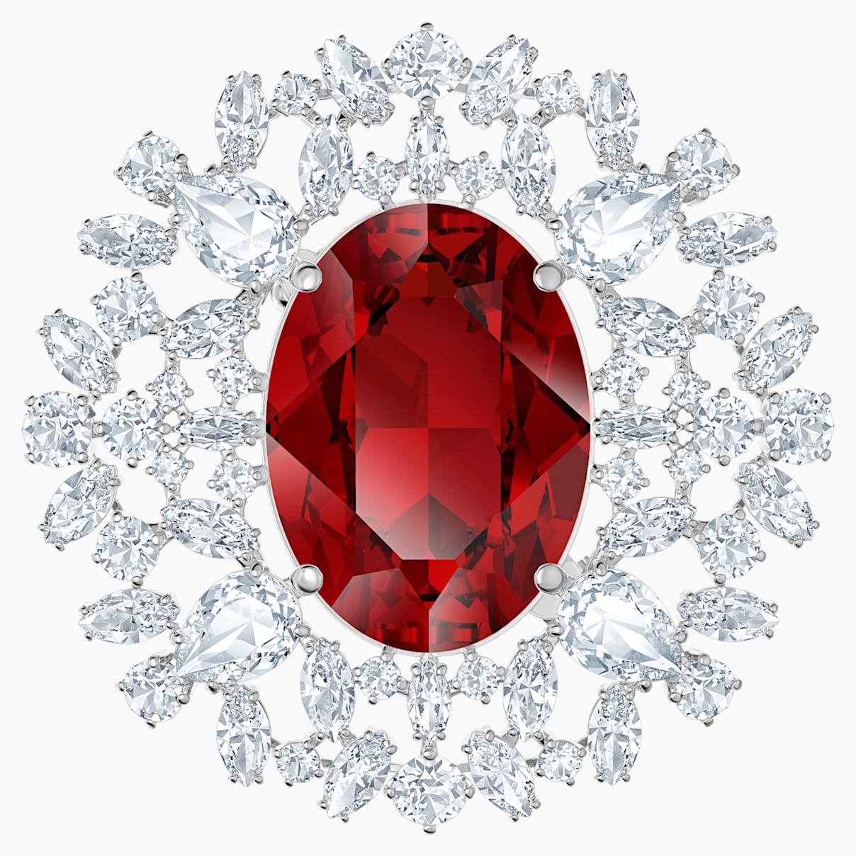 Broche Louison, rouge, Métal rhodié