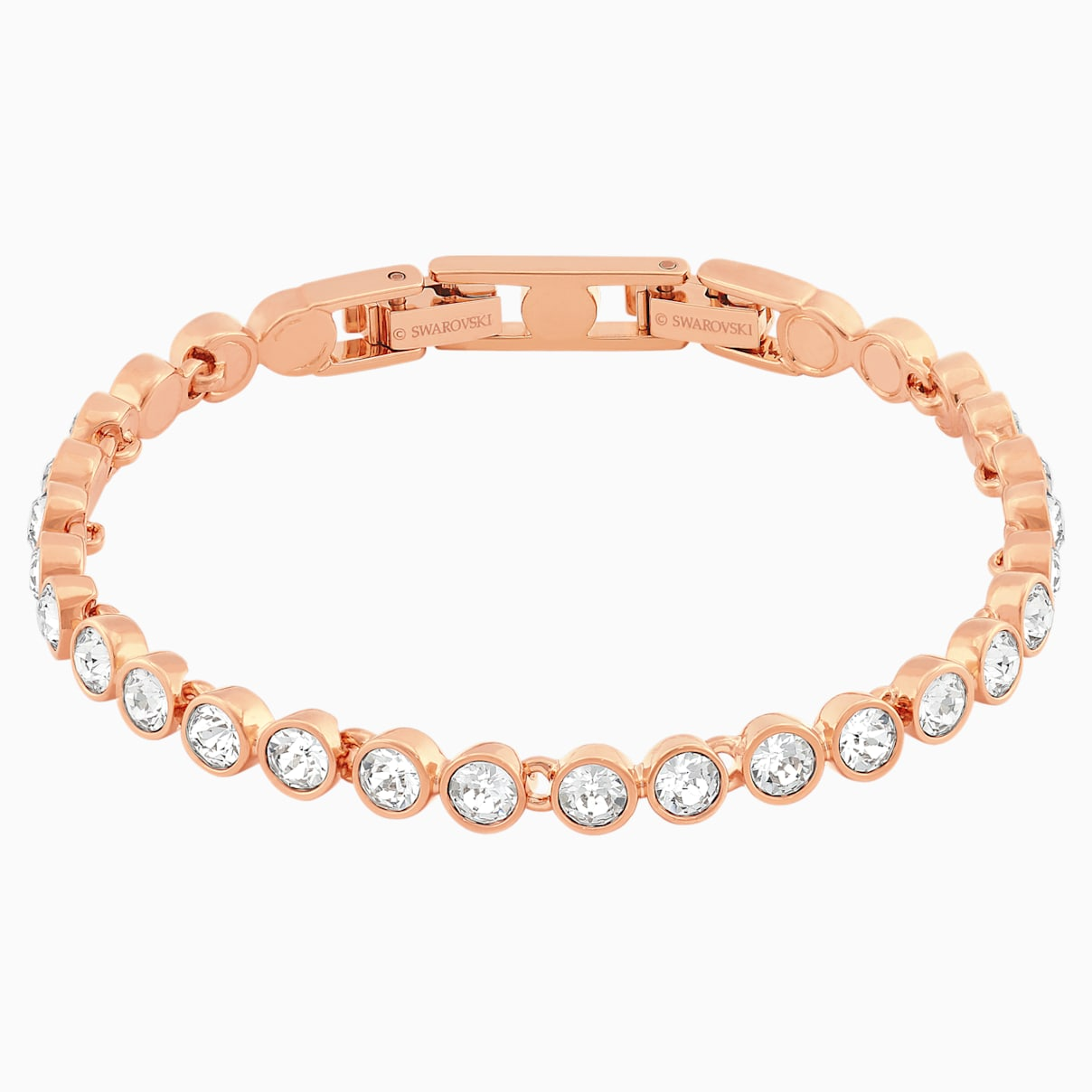 Swarovski Tennis Bracelet, White, Rose-gold tone plated