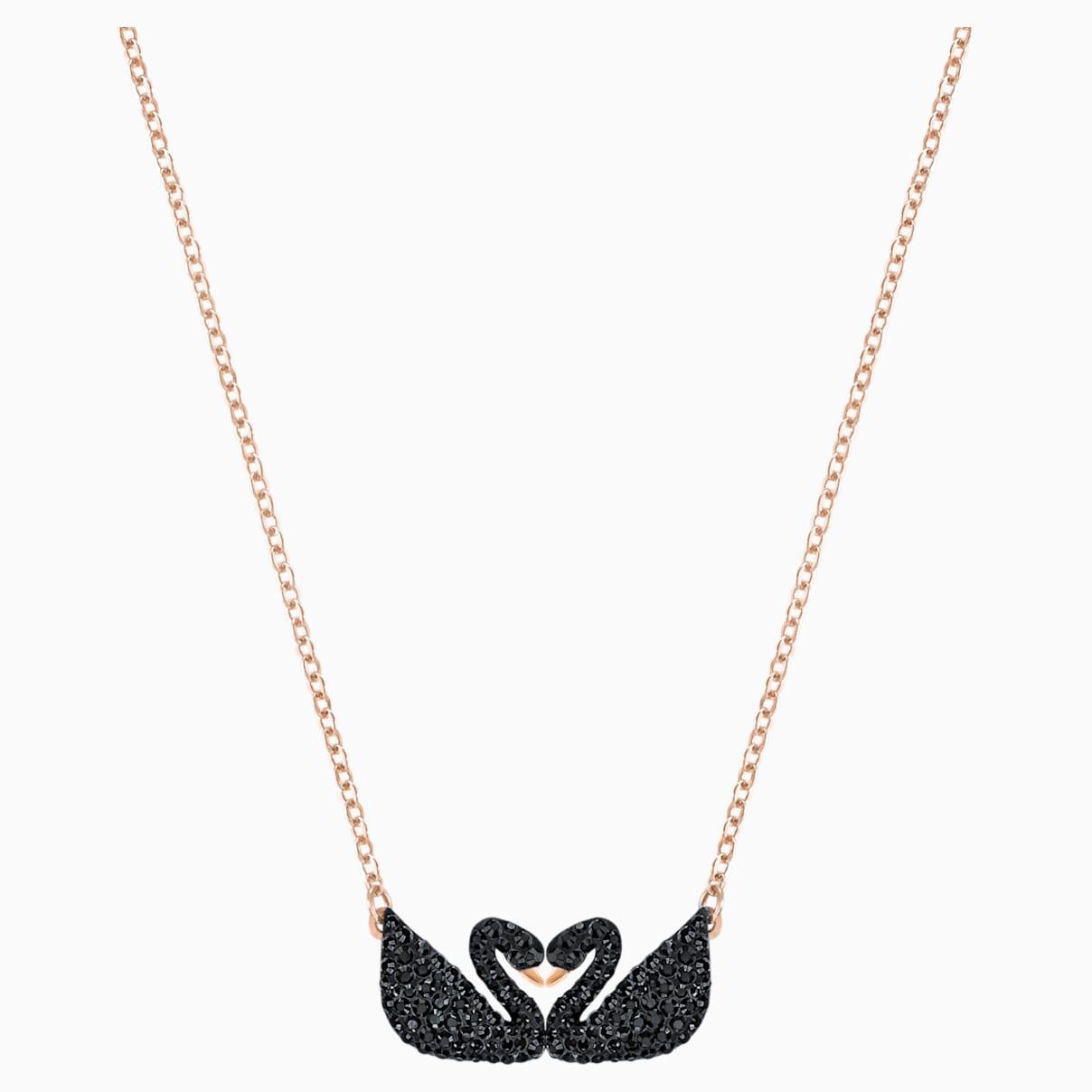Collana Swarovski Iconic Swan, nero, Placcato oro rosa
