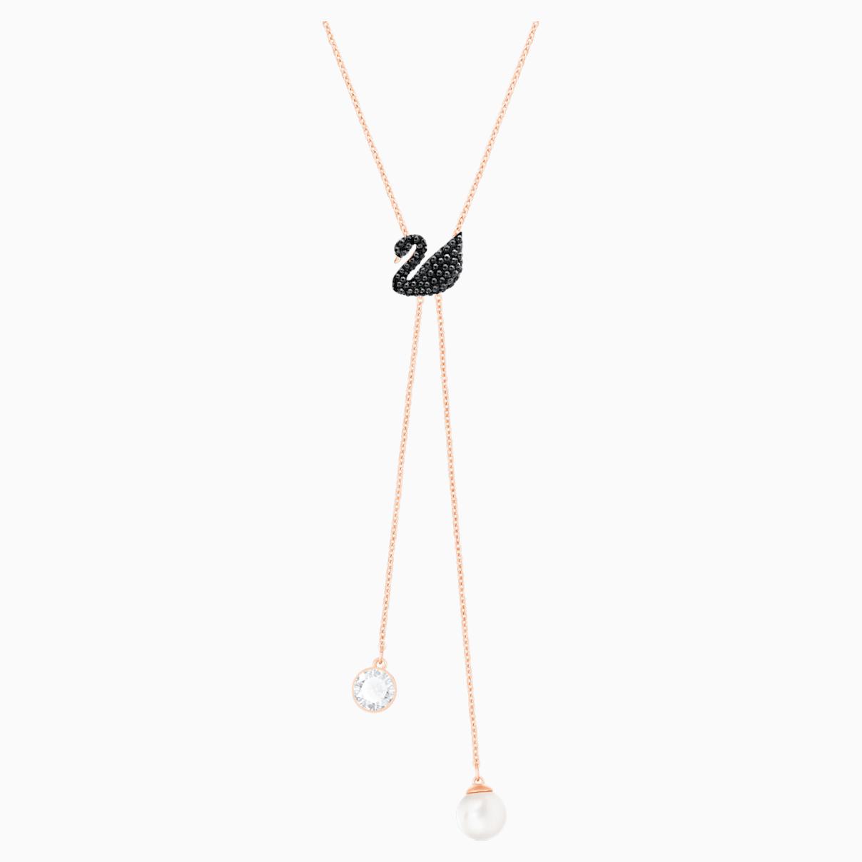 Collana a Y Swarovski Iconic Swan, nero, Placcato oro rosa