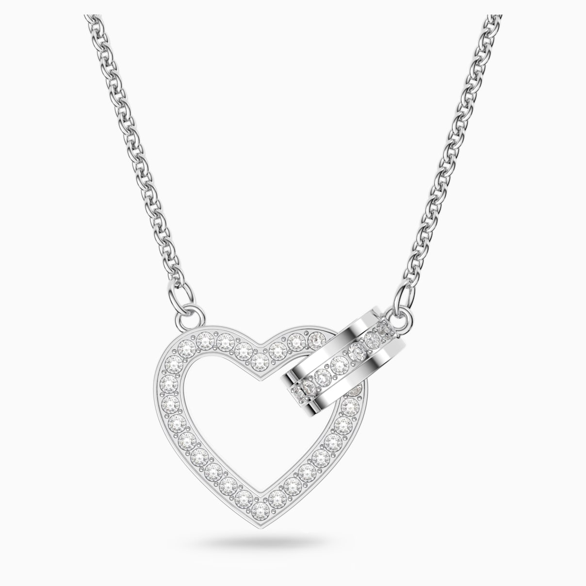 Collana Lovely, bianco, Placcatura rodio