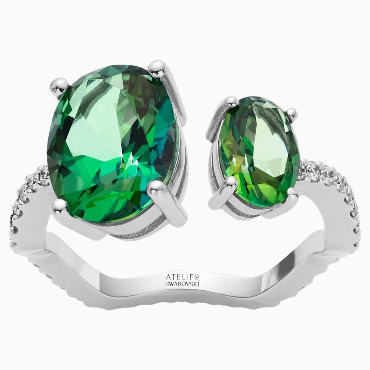 Arc-en-ciel Ring, Rainforest Green Topaz, 18K White Gold, Size 52