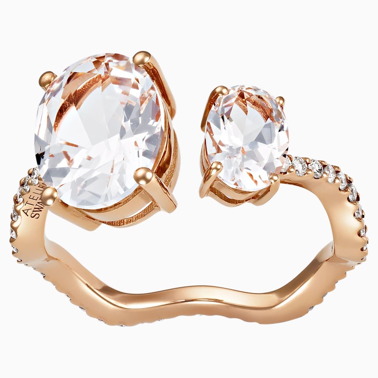 Arc-en-ciel Ring, White Topaz, 18K Rose Gold, Size 52