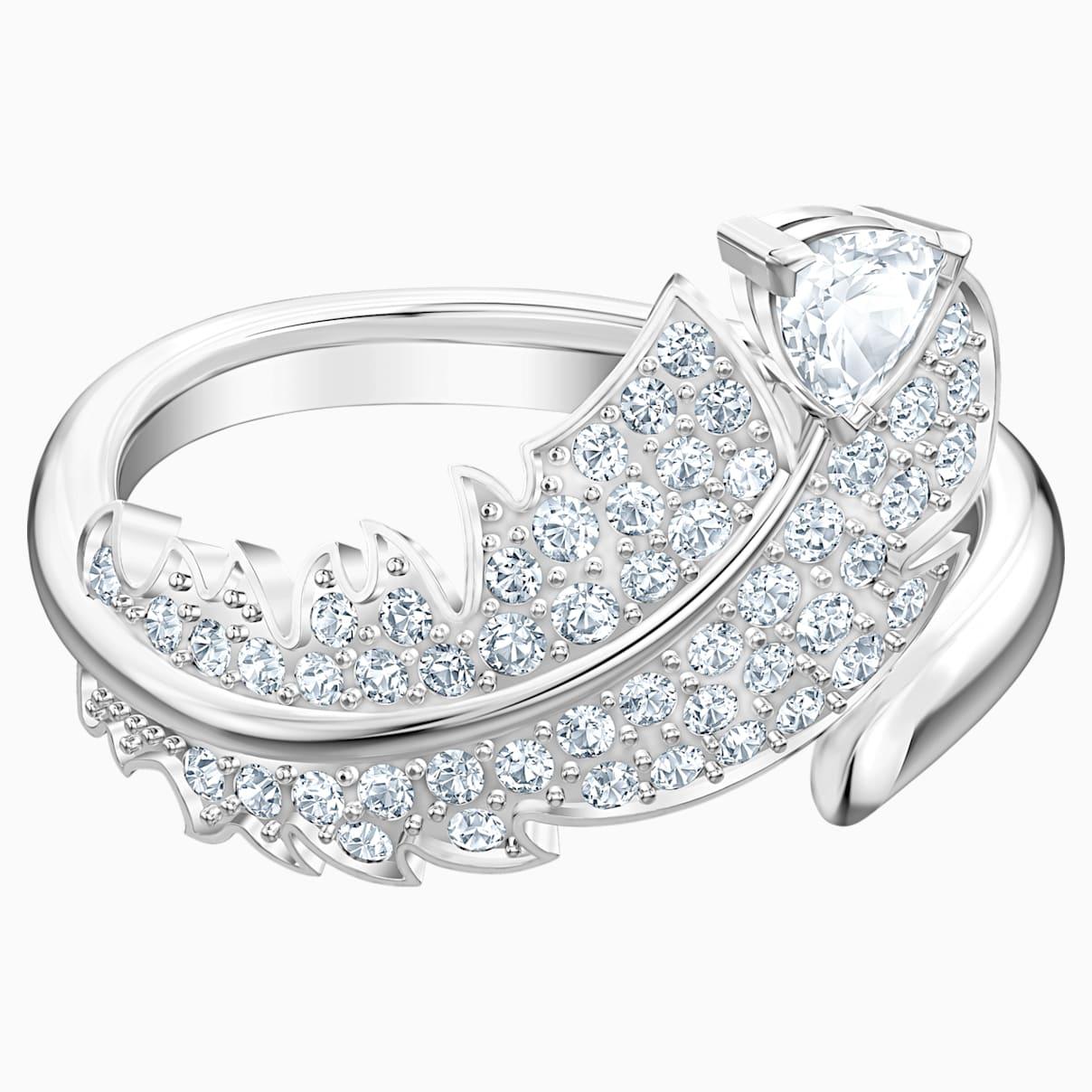 Nice Motif Ring, White, Rhodium plated