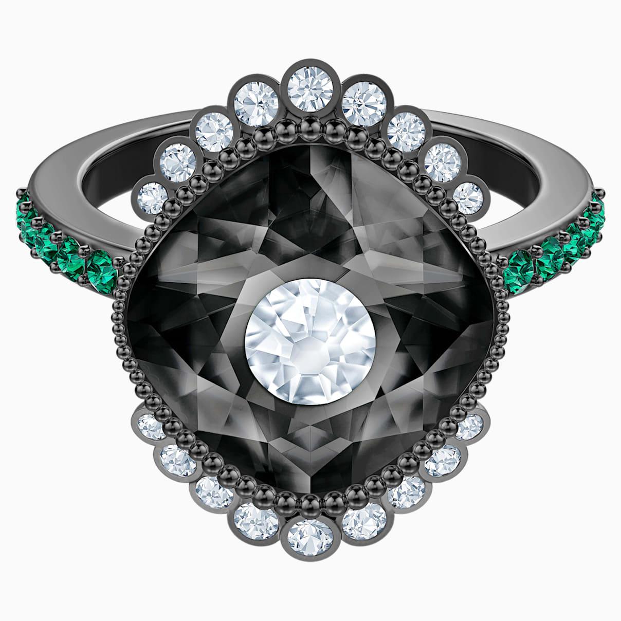 Levně Swarovski Prsten s motivem Black Baroque, vícebarevný, pokovený rutheniem
