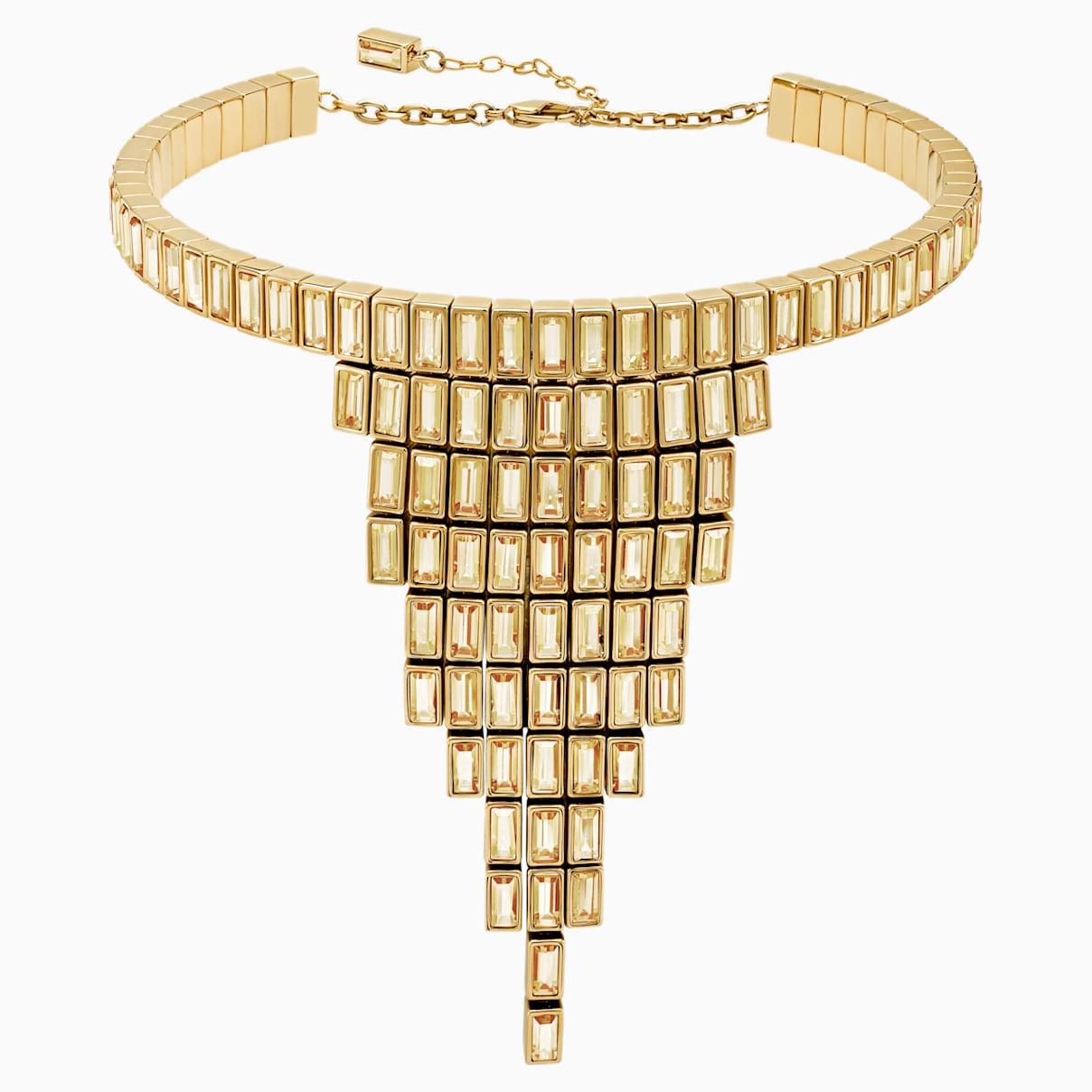 Levně Swarovski Statement náhrdelník Fluid, hnědý, pozlacený