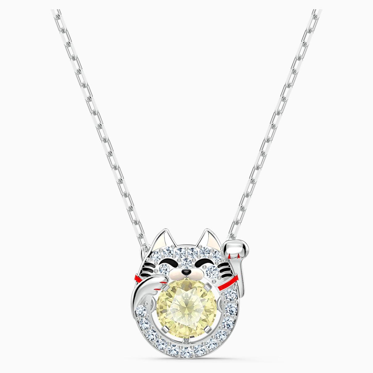 Swarovski Sparkling Dance Cat Necklace, Light multi-colored, Rhodium plated