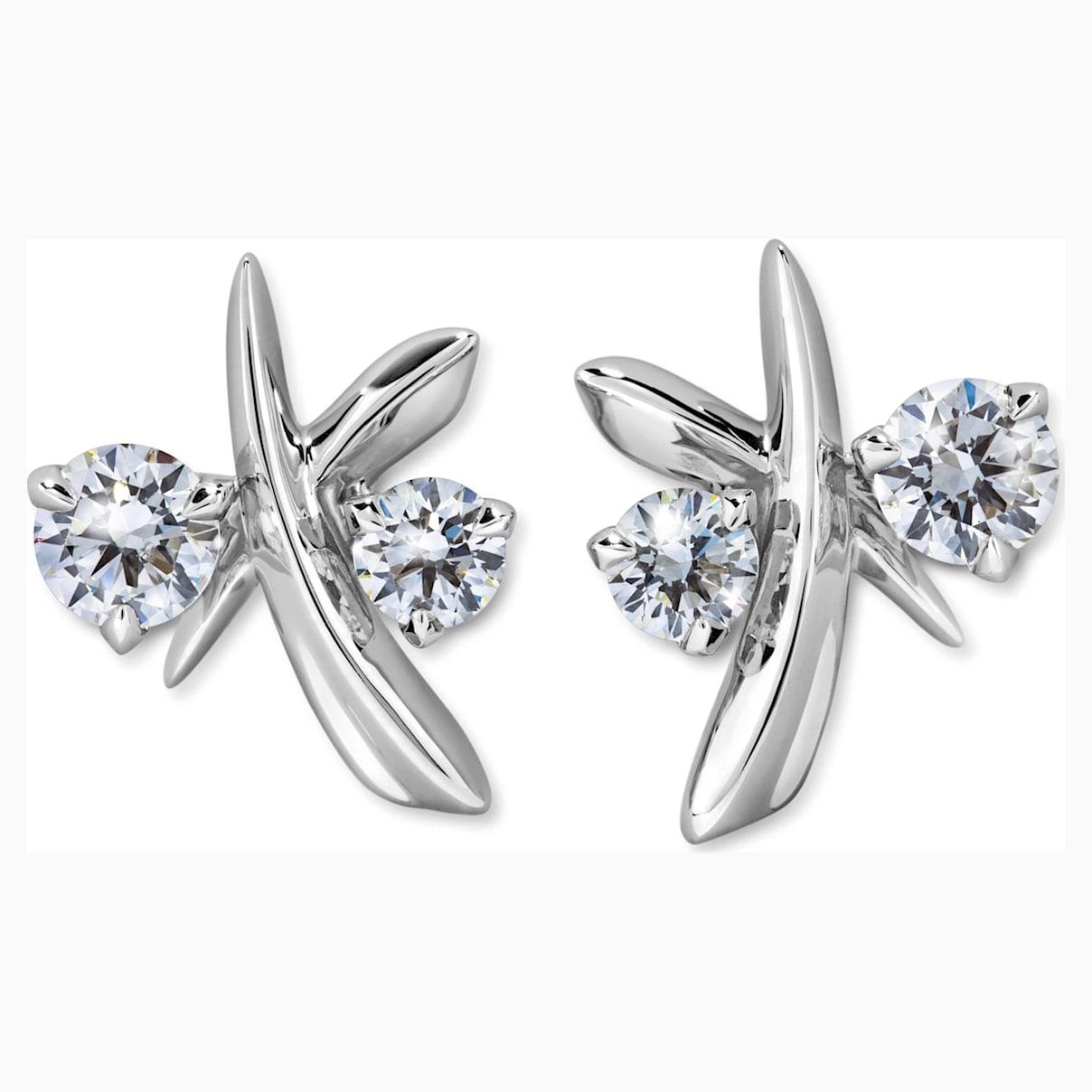 Encounter Stud Earrings, Swarovski Created Diamonds, 18K White Gold