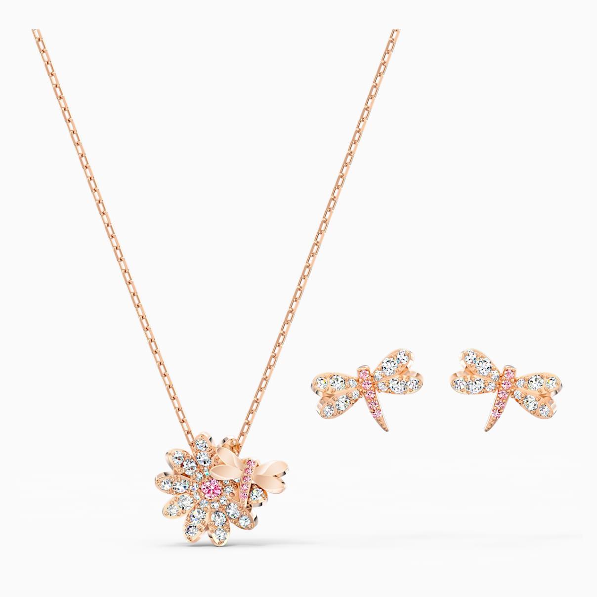 Swarovski Eternal Flower Dragonfly Set, Pink, Rose-gold tone plated