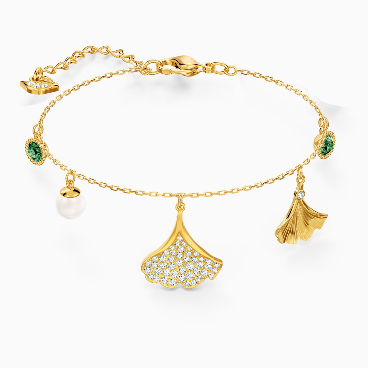 Stunning Ginko Bracelet, Green, Gold-tone plated