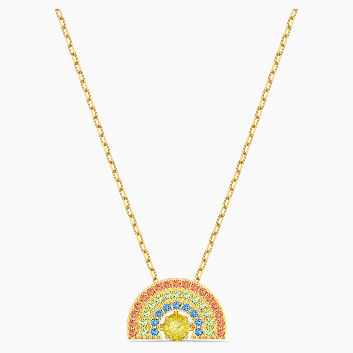 Swarovski Sparkling Dance Rainbow Necklace, Light multi-colored, Gold-tone plated