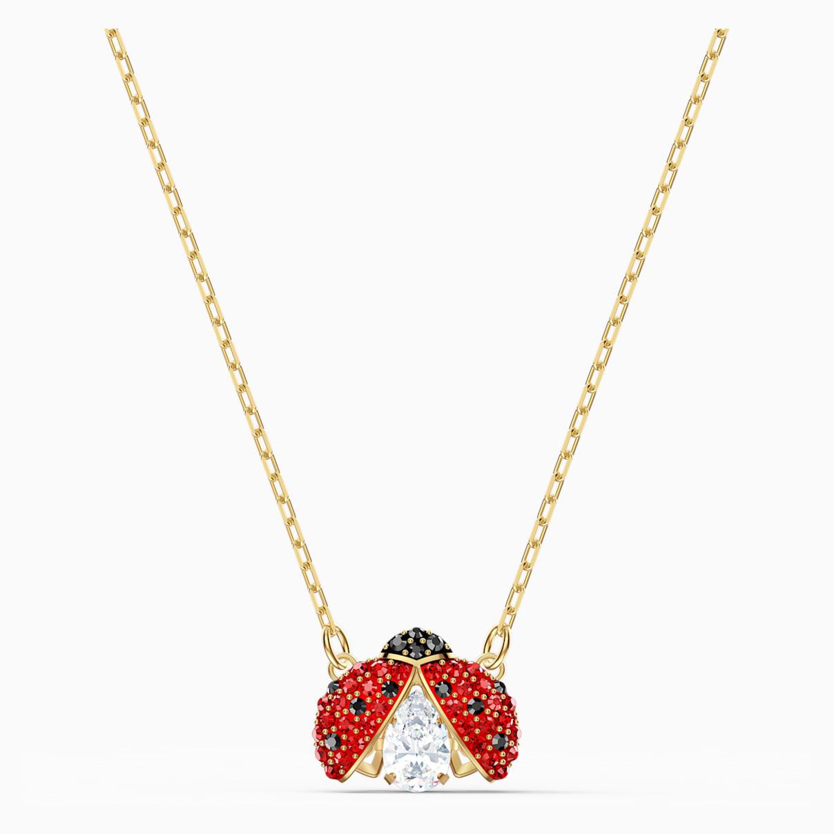 Swarovski Sparkling Dance Ladybug Necklace, Red, Gold-tone plated
