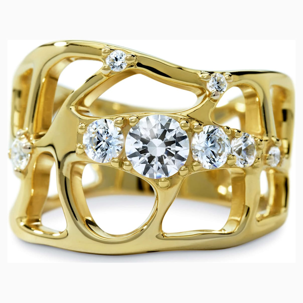 Lace Ring, Swarovski Created Diamonds, 18K Yellow Gold, Size 55