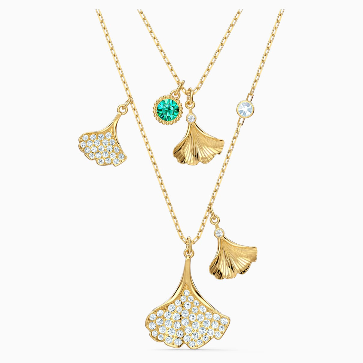 Stunning Ginko Layered Necklace, Green, Gold-tone plated