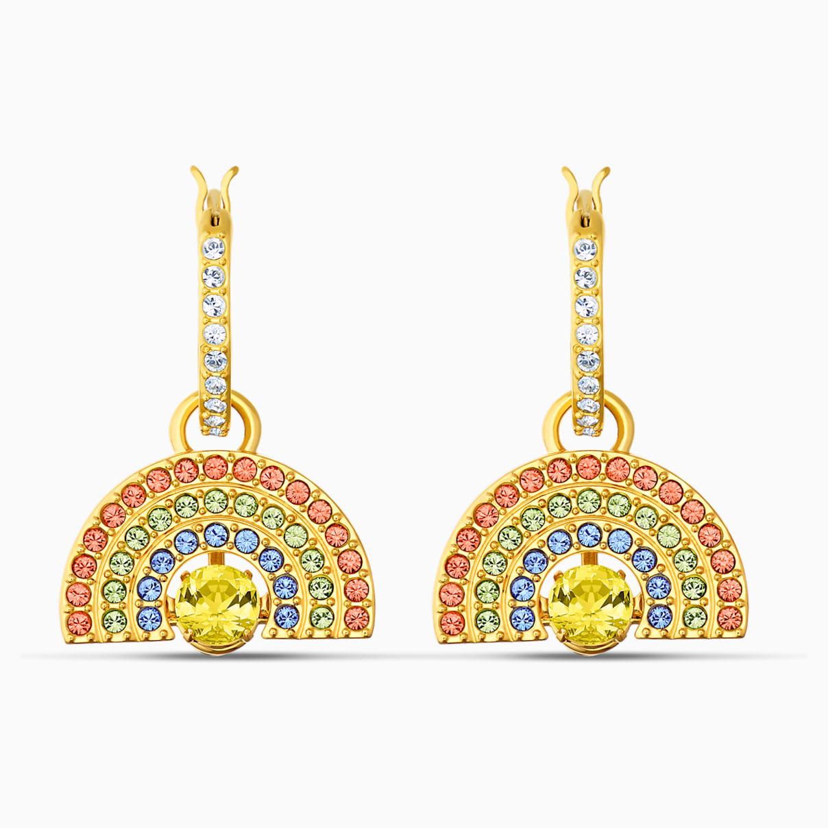 Swarovski Sparkling Dance Rainbow Pierced Earrings, Light multi-colored, Gold-tone plated