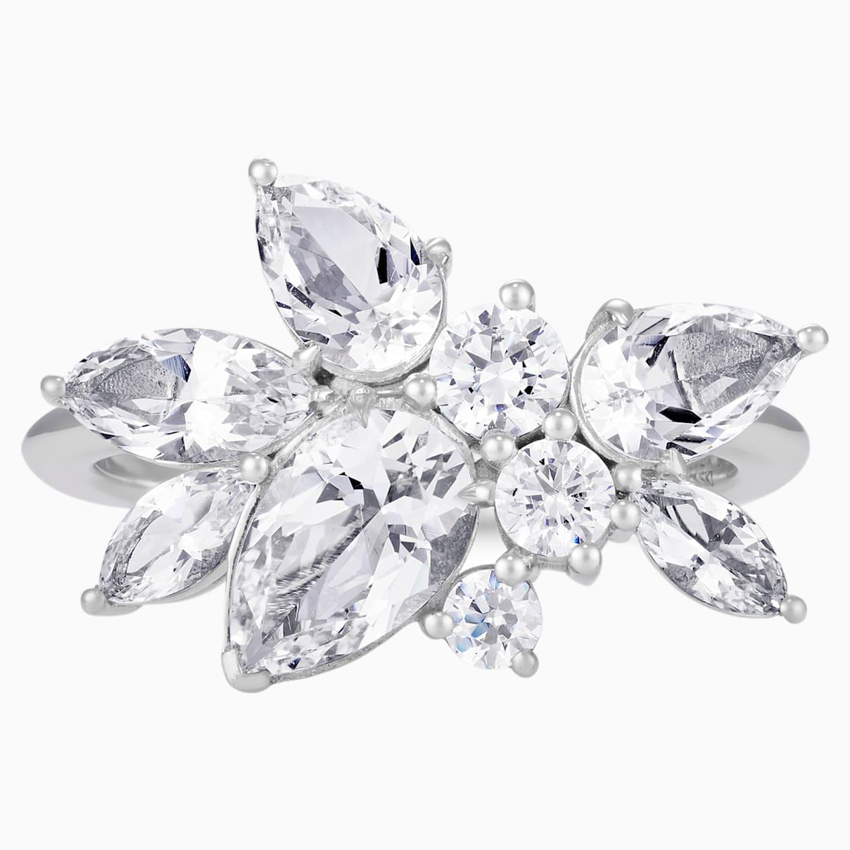 Luna Cluster Ring, Swarovski Created Diamonds, 18K White Gold, Size 55