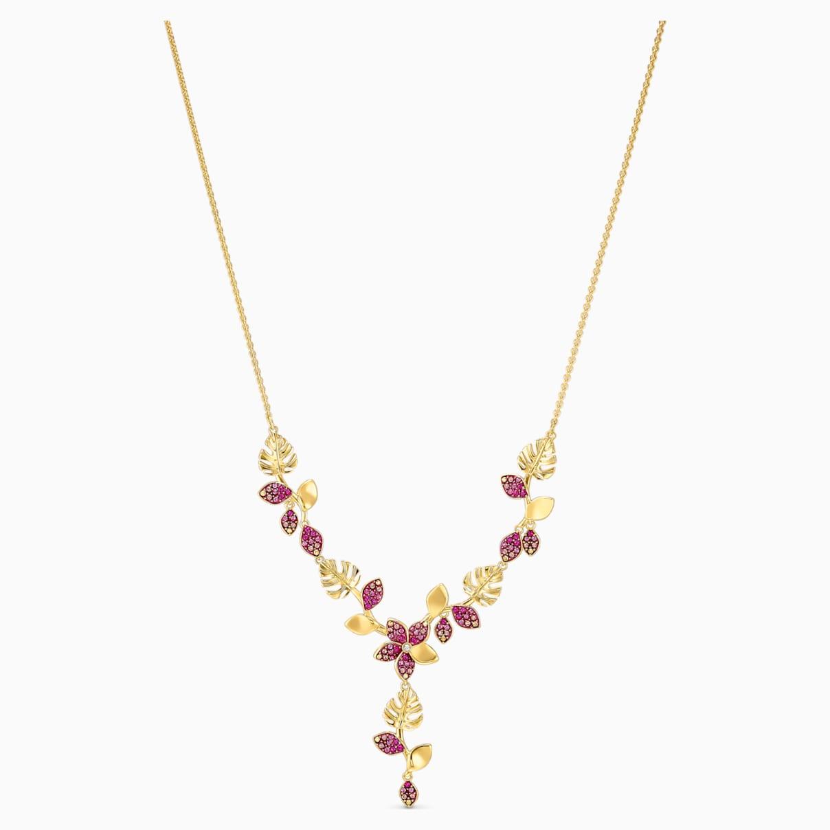 Collana a Y Tropical Flower, rosa, placcato color oro