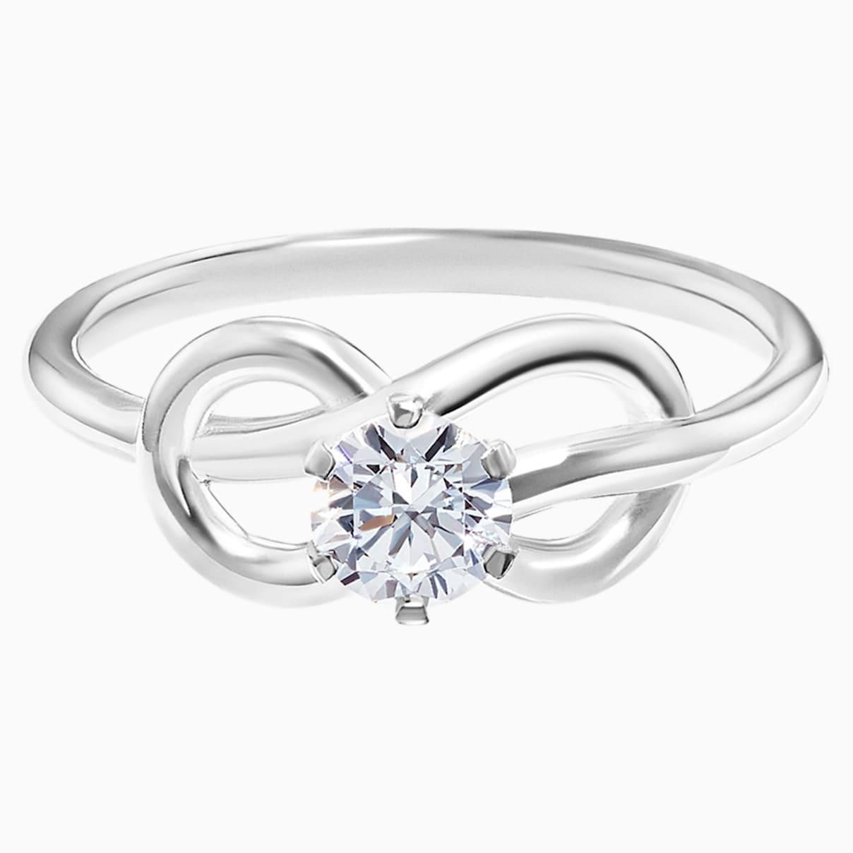 Knot of True Love Savoy Ring 0.25ct, Swarovski Created Diamonds, 18K White Gold, Size 52