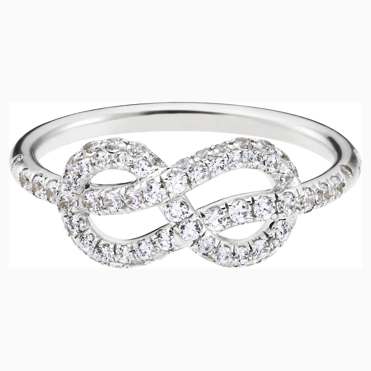 Knot of True Love Classic Pavé Ring, Swarovski Created Diamonds, 18K White Gold, Size 52