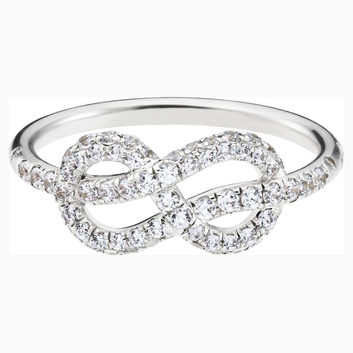 Knot of True Love Classic Pavé Ring, Swarovski Created Diamonds, 18K White Gold, Size 58