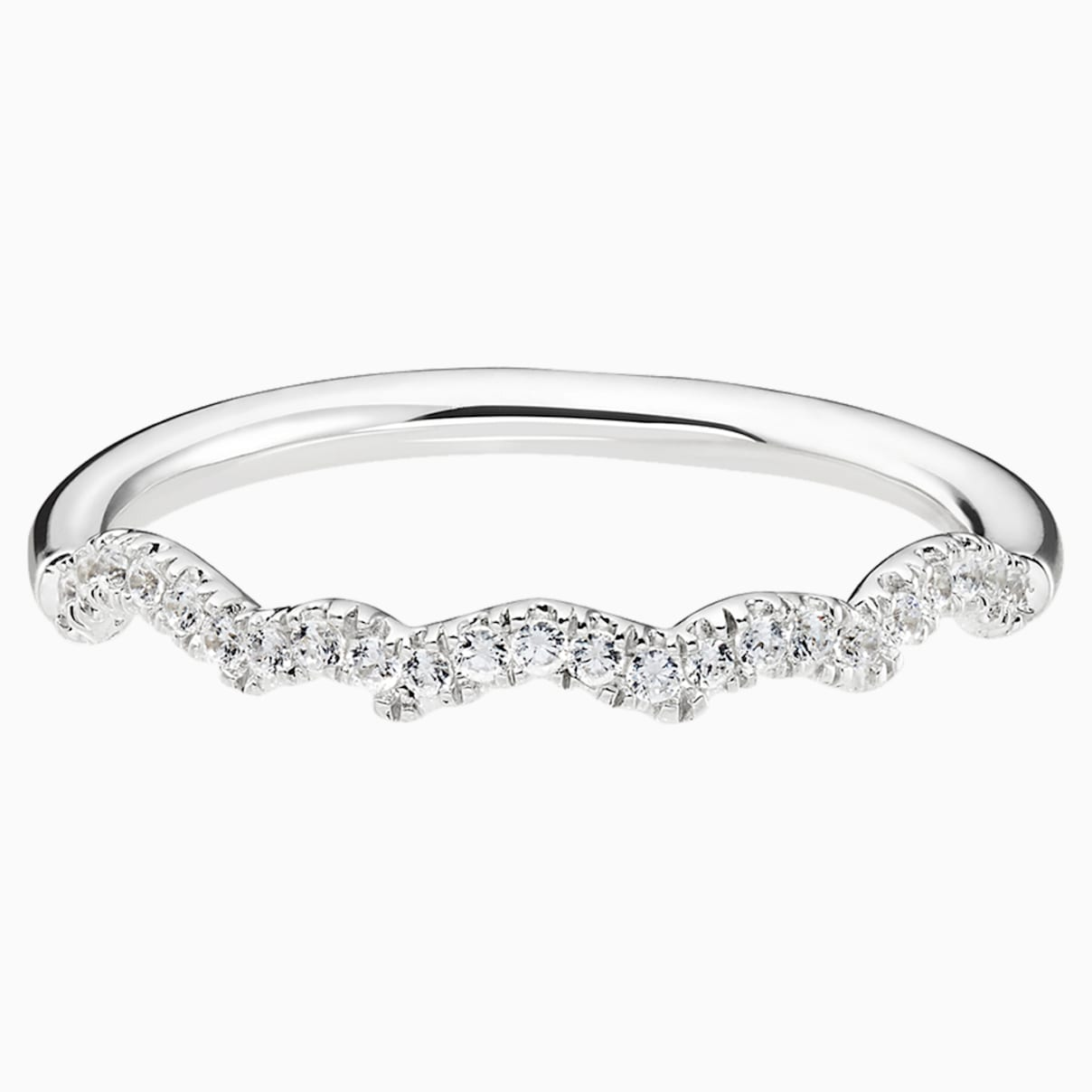 Knot of True Love Slim Band Ring, Swarovski Created Diamonds, 18K White Gold, Size 52