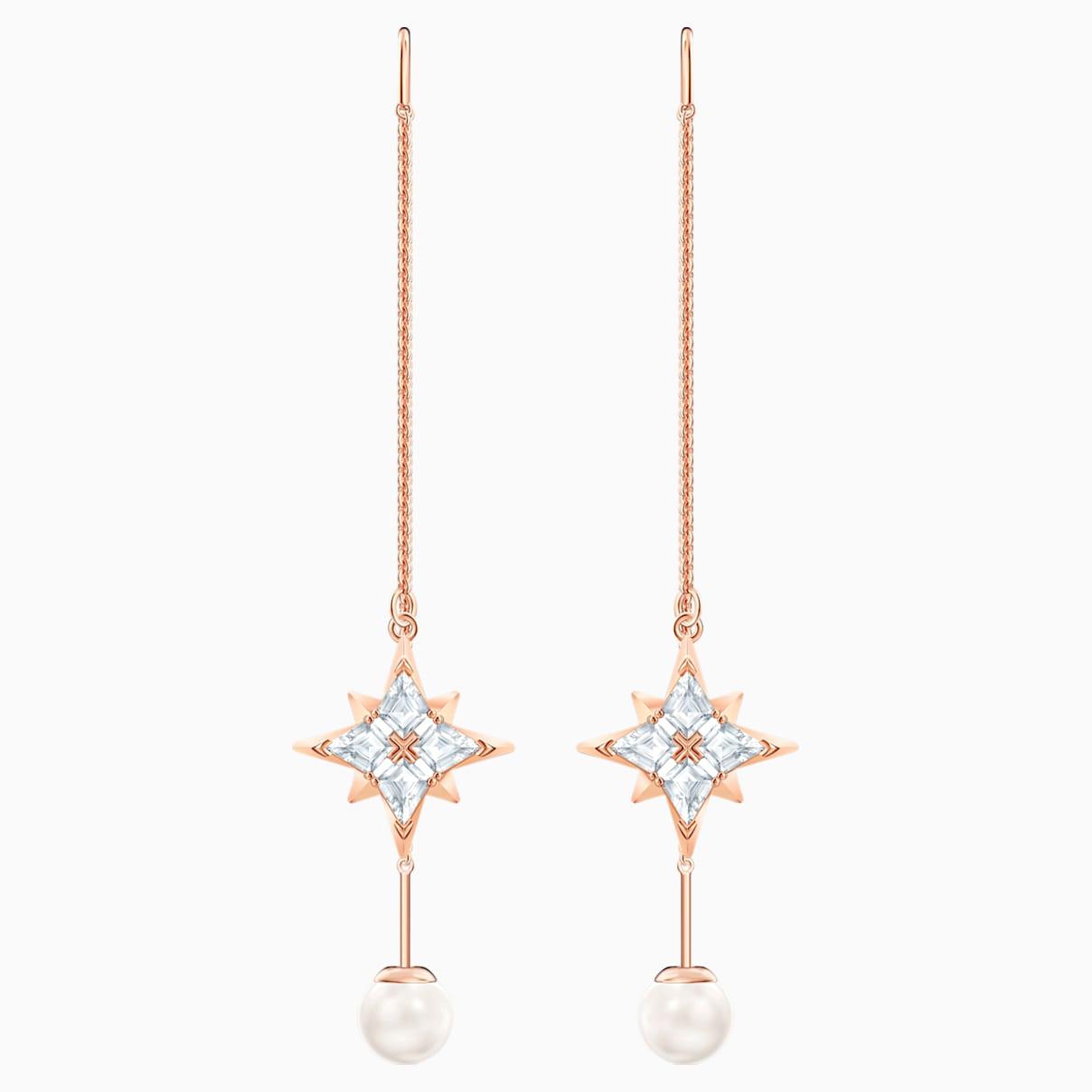 Swarovski Symbolic Chain Pierced Earrings, White, Rose-gold tone plated