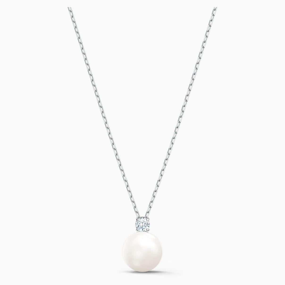 Collana Treasure Pearl, bianco, placcato rodio