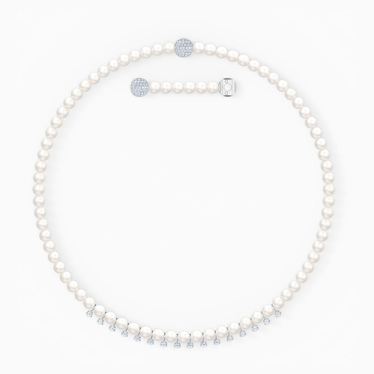 Collana Treasure Pearls, bianco, placcato rodio