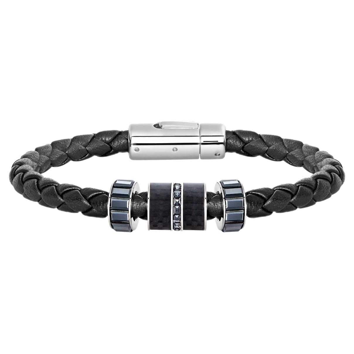 Diagonal Bracelet, Leather, Black, Stainless steel