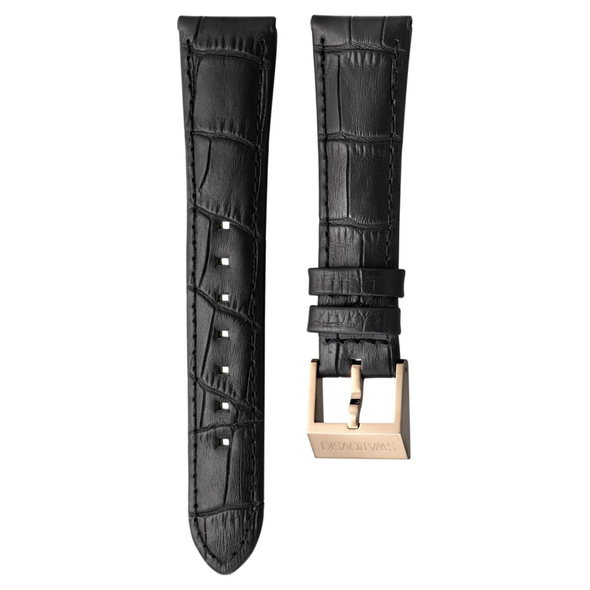 Cinturino per orologio 18mm, pelle con impunture, nero, placcato color oro rosa