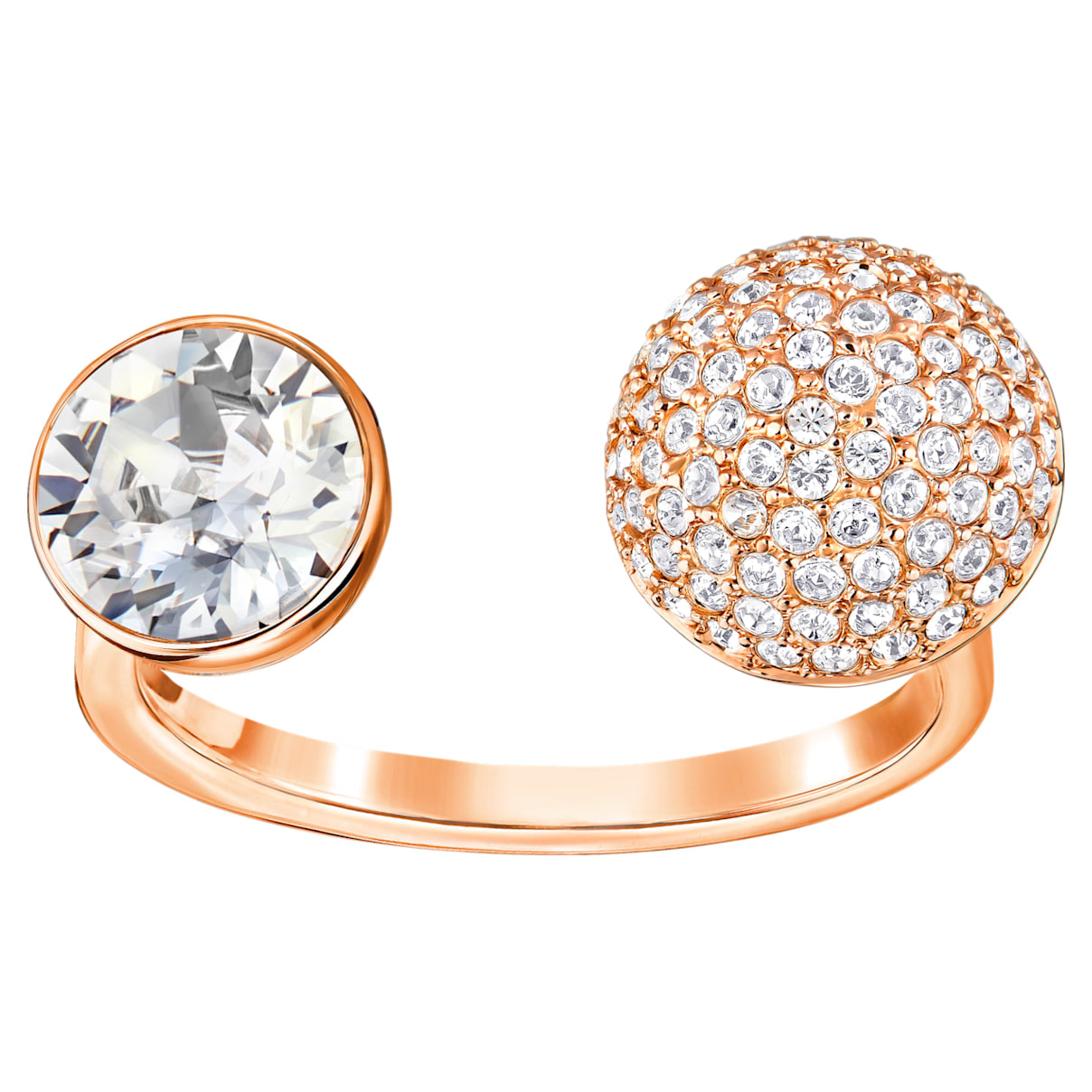Forward Open Ring, White, Rose-gold tone plated