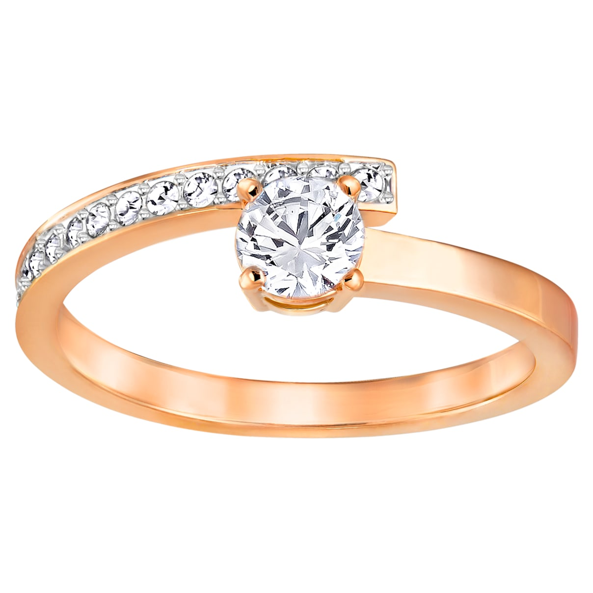 Fresh Ring, Small, White, Rose-gold tone plated