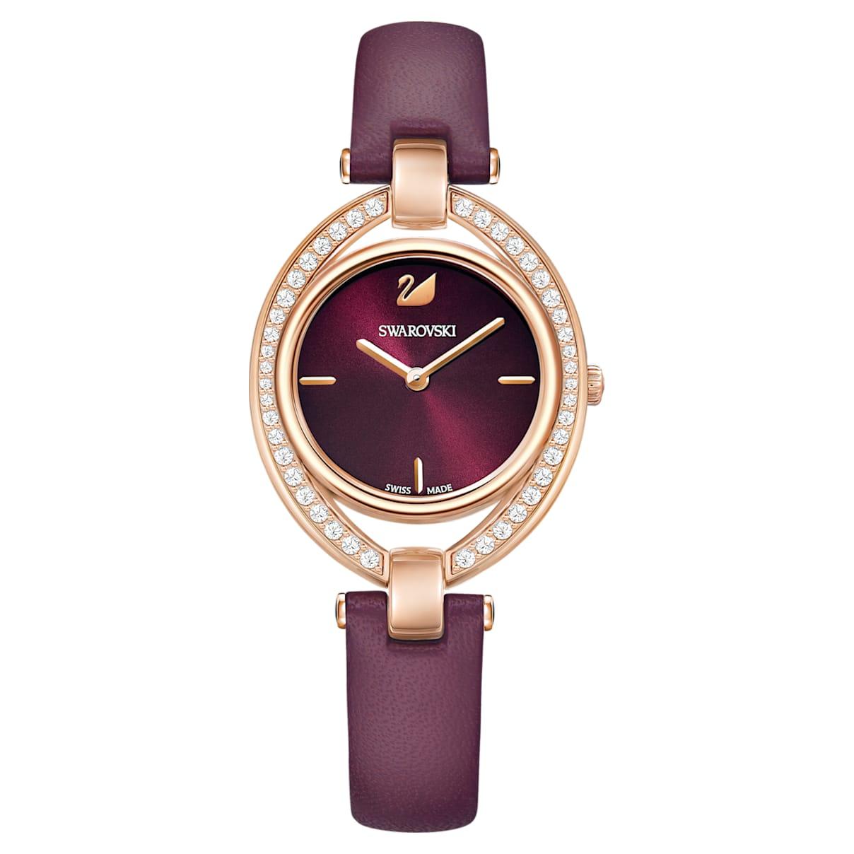 Orologio Stella, Cinturino in pelle, rosso scuro, PVD oro rosa