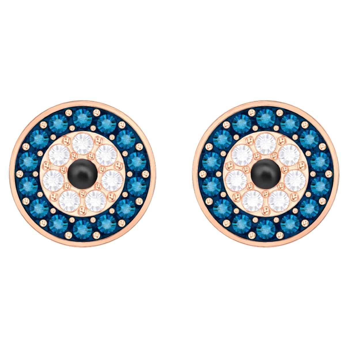 Orecchini Luckily Evil Eye, blu, placcato oro rosa