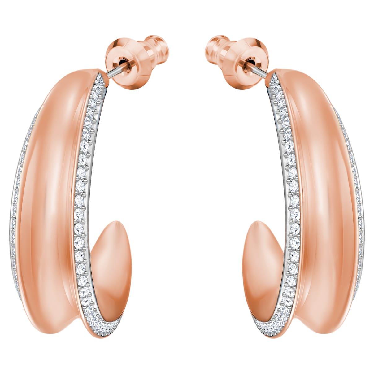 Lakeside Hoop Pierced Earrings, White, Rose-gold tone plated