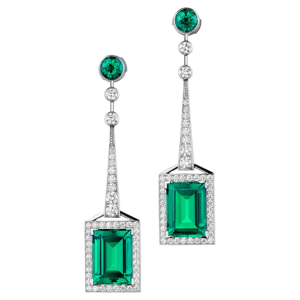 Mosaic Earrings, Swarovski Created Emeralds & Swarovski Created Diamonds, 18K White Gold