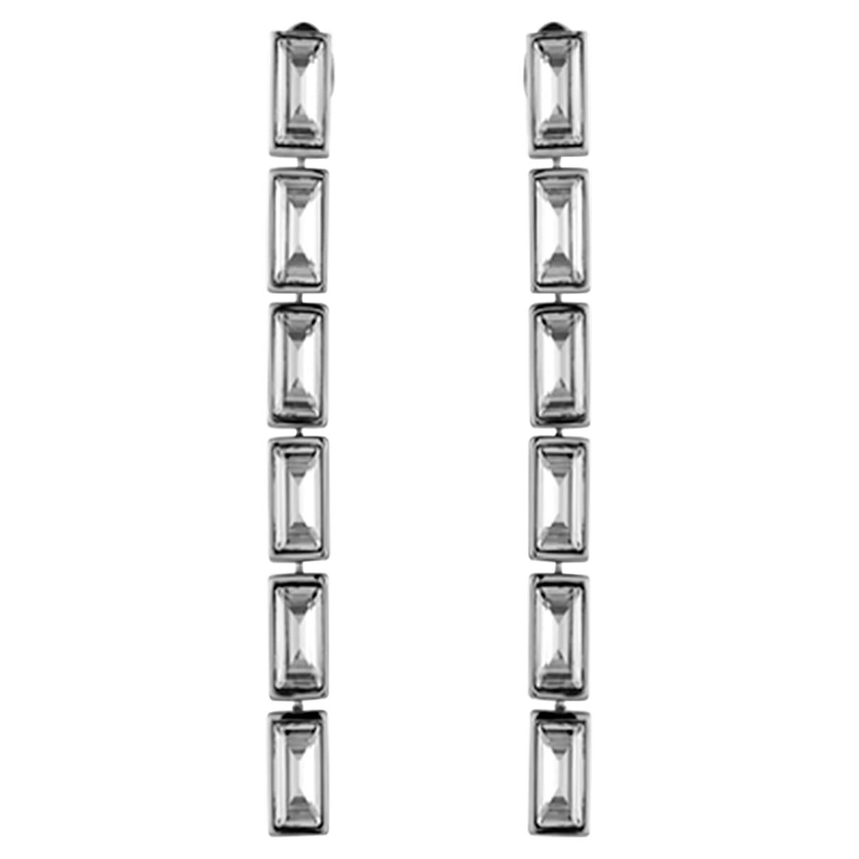 Fluid Drop Pierced Earrings, Gray, Palladium plated