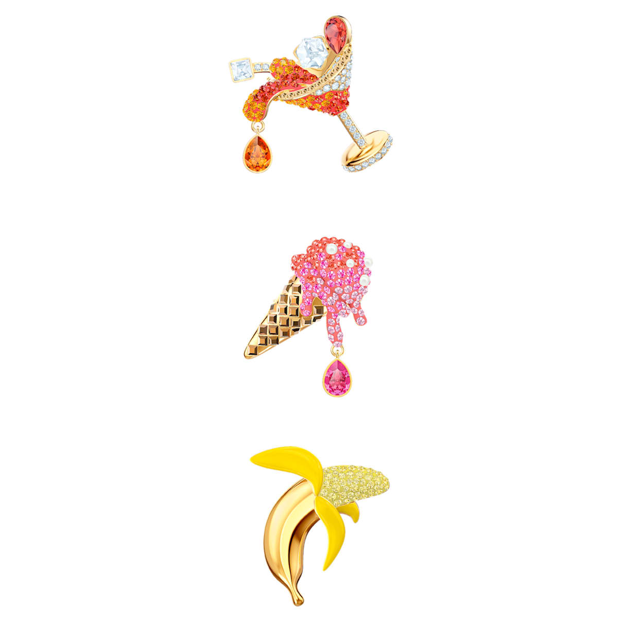 No Regrets Brooch Set, Multi-colored, Gold-tone plated