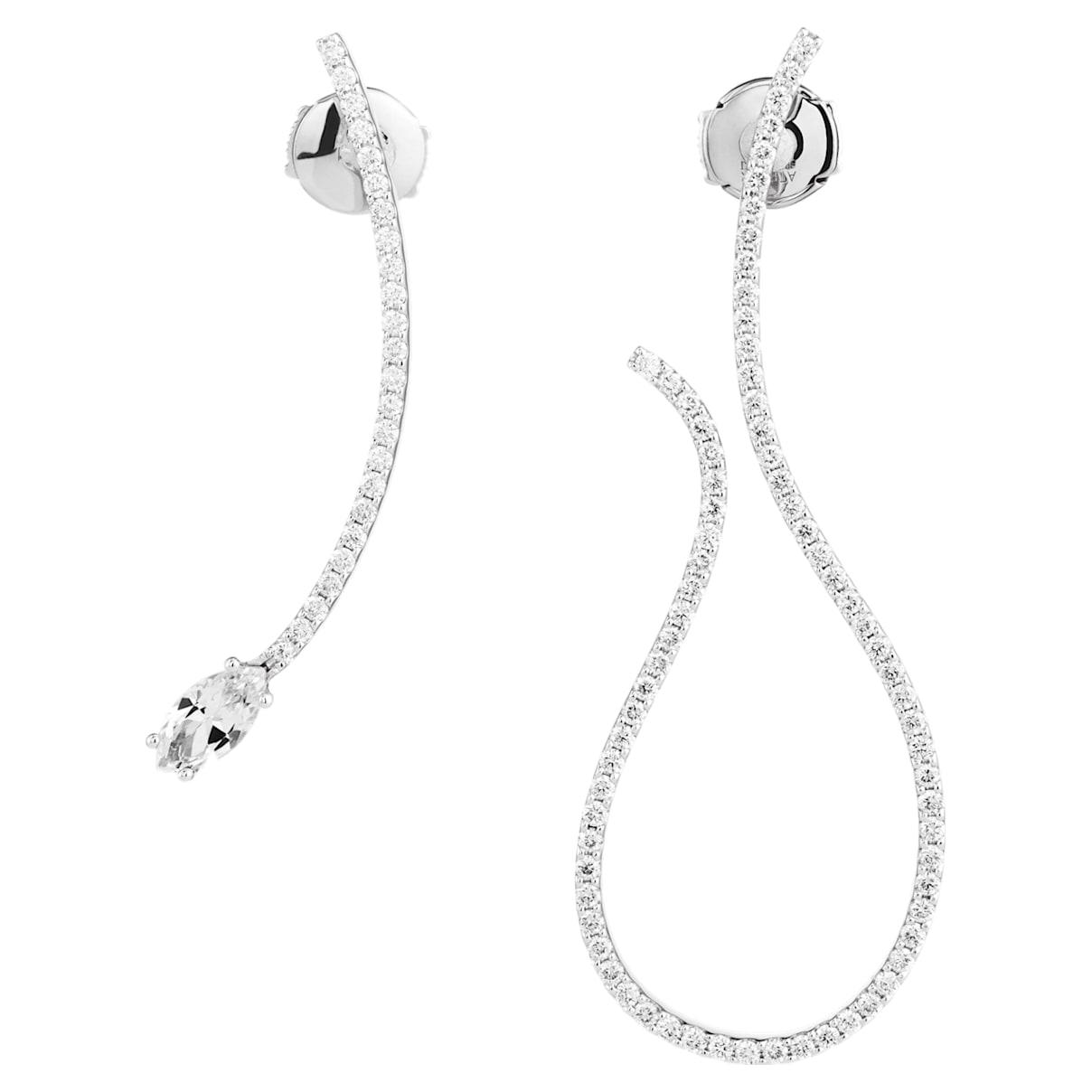 Arc-en-ciel Mis-matched Earrings, Swarovski Genuine Topaz & Swarovski Created Diamonds, 18K White Gold