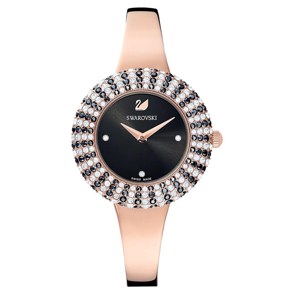 Orologio Crystal Rose, Bracciale di metallo, nero, PVD oro rosa