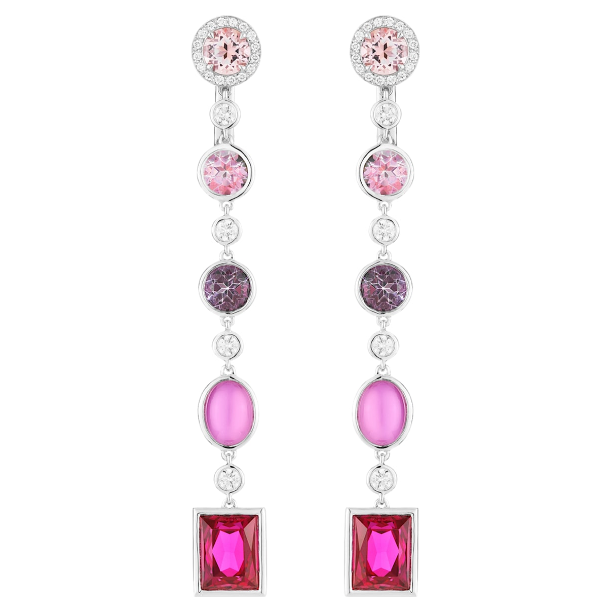 Flowering Fuchsia Earrings, Swarovski Created Ruby & Pink Treated Swarovski Genuine Topaz, 18K White Gold