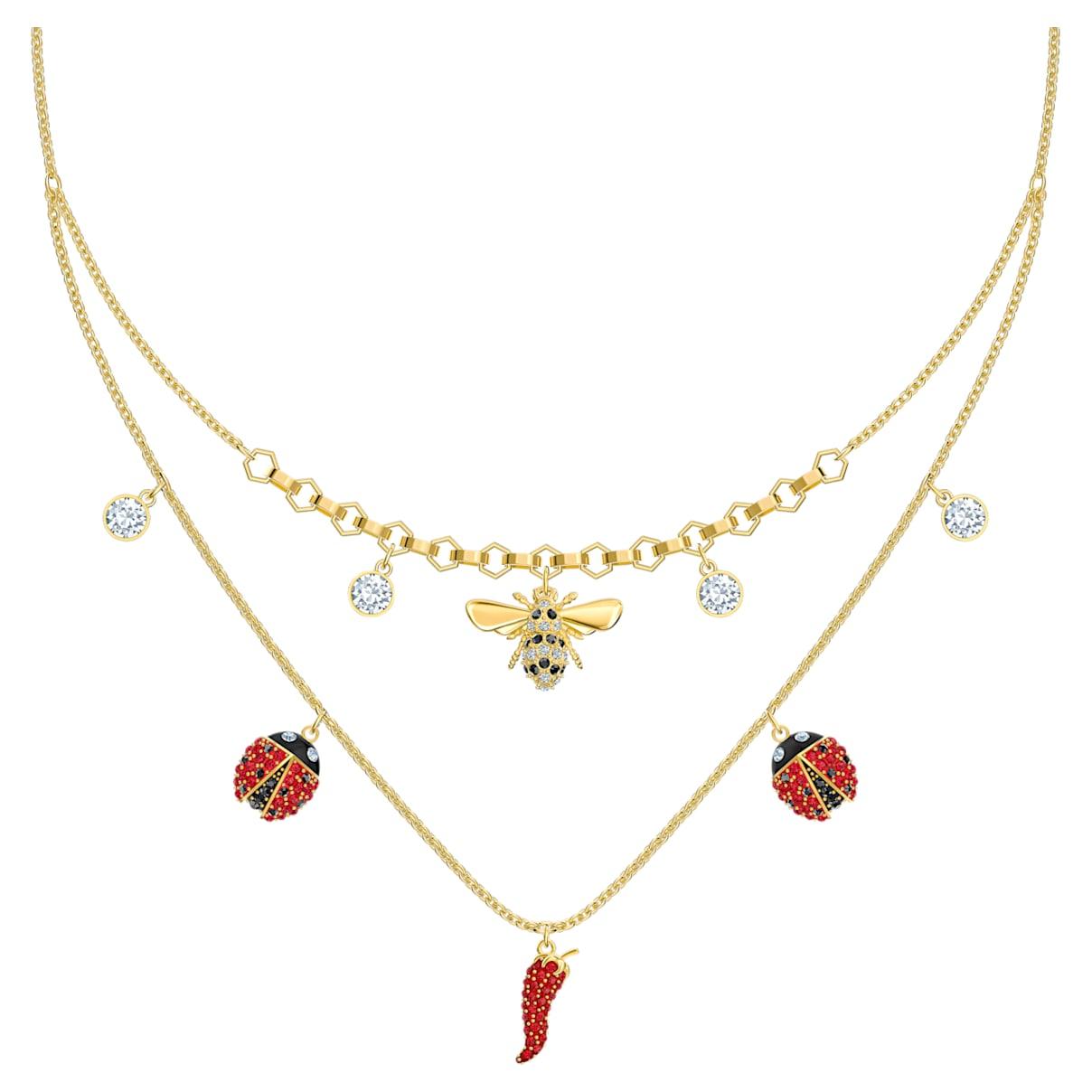 Collana Lisabel, rosso, Placcato oro