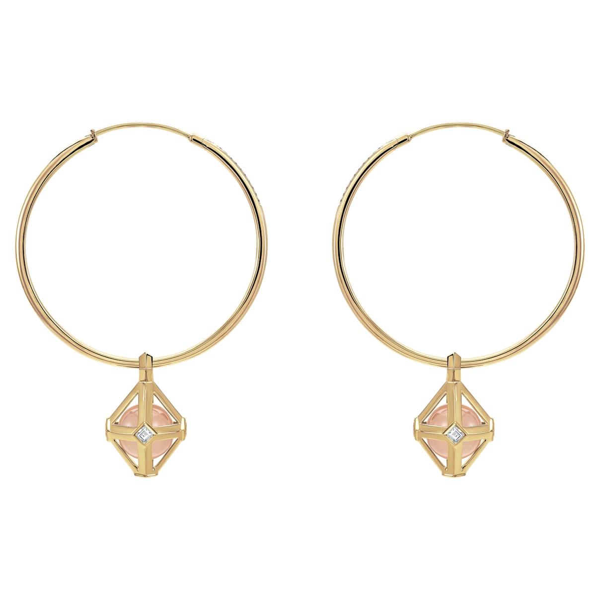 Double Diamond Drop Earrings, Genuine Rose Quartz & Swarovski Created Diamonds, 14K Yellow Gold
