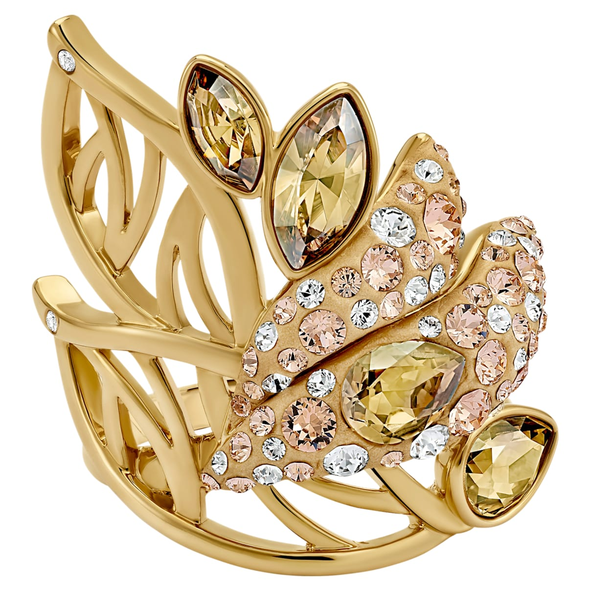 Graceful Bloom Cocktail Ring Brown, Gold-tone plated