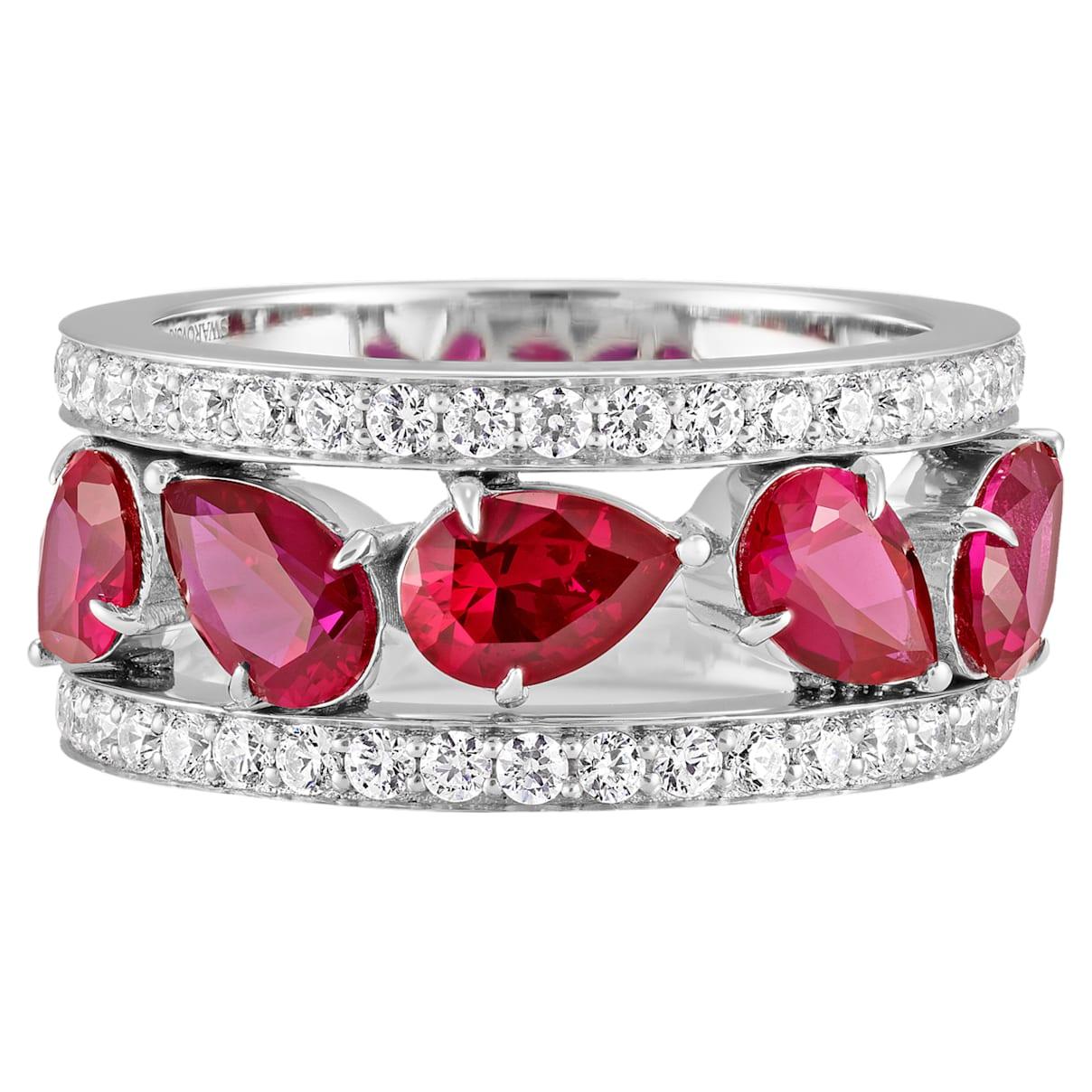 Lola Wide Band Ring, Swarovski Created Rubies, 18K White Gold, Size 58