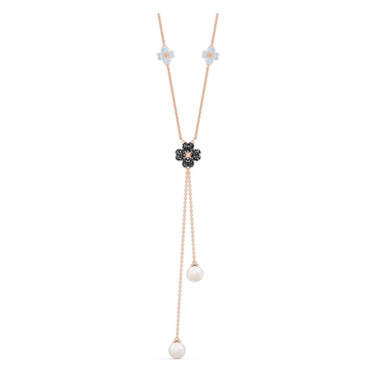 Latisha Y Necklace, Black, Rose-gold tone plated