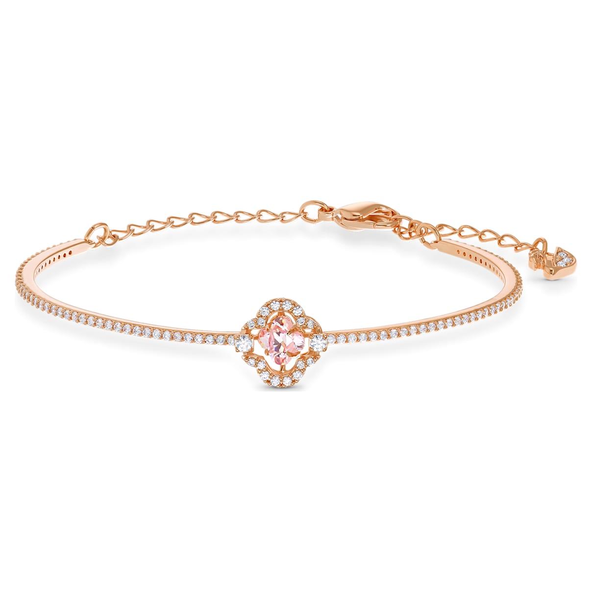 Bracciale rigido Swarovski Sparkling Dance Clover, rosa, placcato color oro rosa