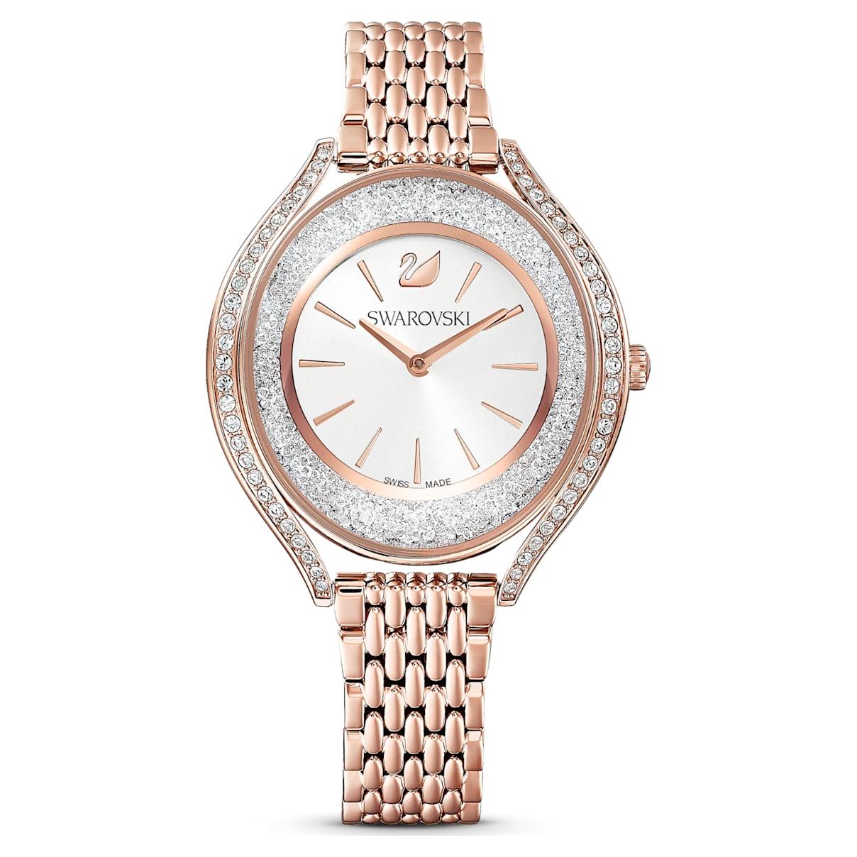 Orologio Crystalline Aura, bracciale di metallo, tono oro rosa, PVD oro rosa