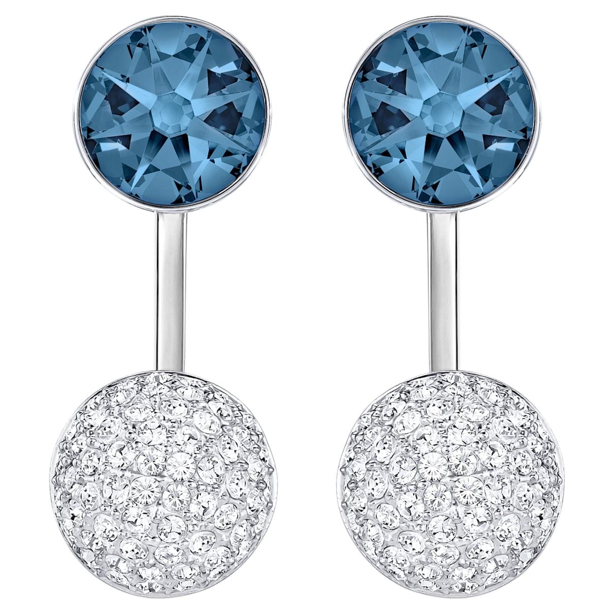 Forward Pierced Earring Jackets, Blue, Palladium plated